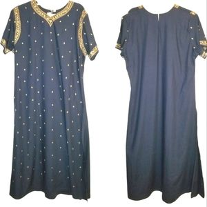 SEASONS Navy Blue Copper Floral Embroidered Kurta